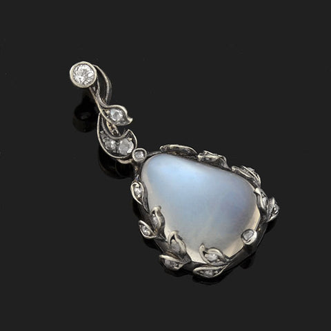 Late Victorian Sterling/14kt Moonstone Diamond Pendant