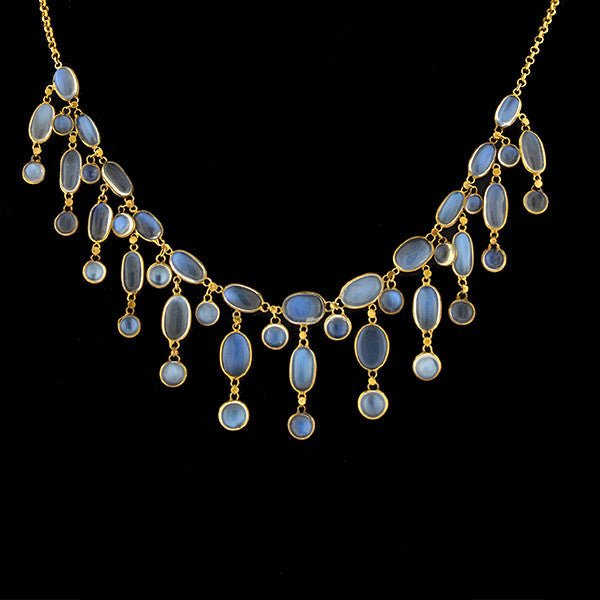 Art Nouveau 14kt Moonstone Festoon Necklace