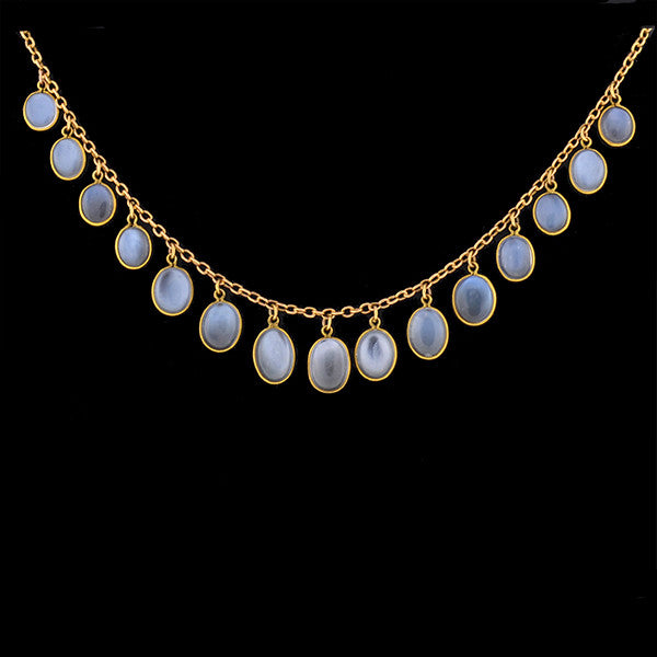 Victorian 14kt Festoon Moonstone Necklace