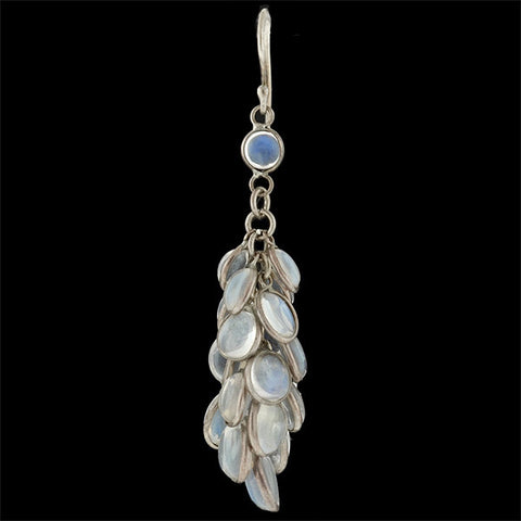 "Estate Sterling & Moonstone ""Fish Scale"" Earrings"