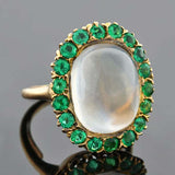 Victorian 14kt Moonstone & Demantoid Garnet Cluster Ring