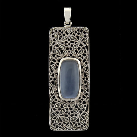 Art Deco Sterling Moonstone & Marcasite Filigree Pendant