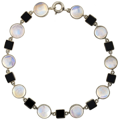 Art Deco Sterling Moonstone & Onyx Link Bracelet Set