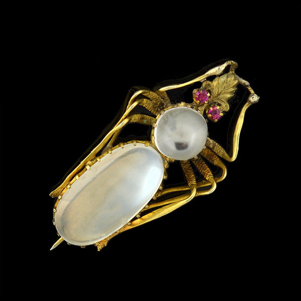 Victorian Silver Gilt Moonstone & Pink Sapphire Bug Pin