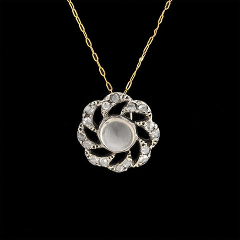 Victorian 14kt/Sterling Moonstone + Diamond Flower Pendant Necklace