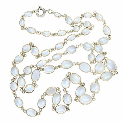 Retro Sterling Silver Bezel Set Moonstone Link Necklace 27""