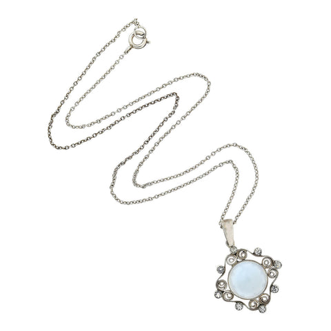 Arts & Crafts Sterling Faux Moonstone + Crystal Pendant Necklace