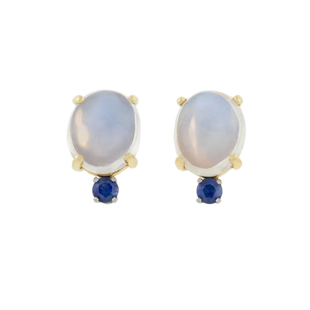 Vintage 14kt Moonstone + Sapphire Stud Earrings