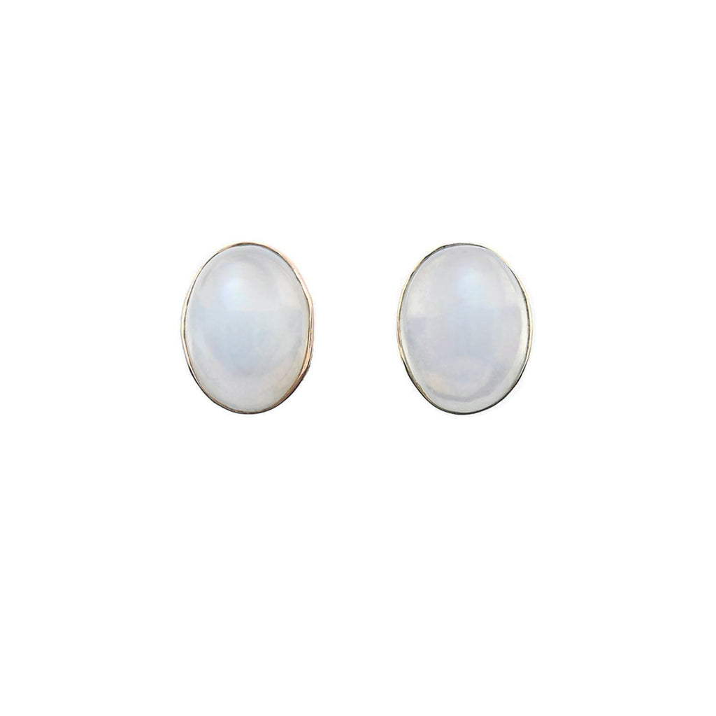 Victorian 14kt Moonstone Cabochon Stud Earrings
