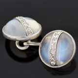 Edwardian Platinum Moonstone & Diamond Cufflinks