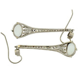 Art Deco Platinum Diamond Moonstone Drop Earrings