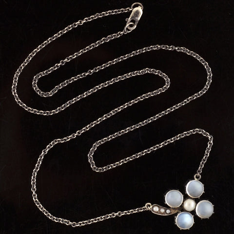 "Victorian Sterling Moonstone + Pearl ""Lucky 4-Leaf Clover"" Necklace"