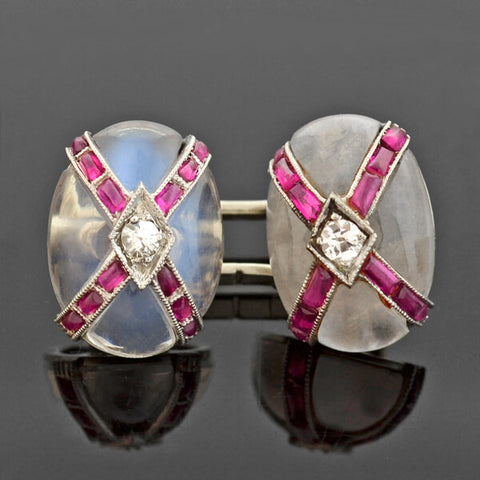 Art Deco 18kt Moonstone, Ruby + Diamond Cufflinks