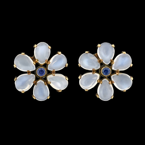 Retro 14kt Moonstone + Sapphire Flower Stud Earrings