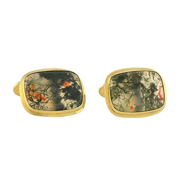 Late Art Deco Gilded Silver Moss Agate Cufflinks