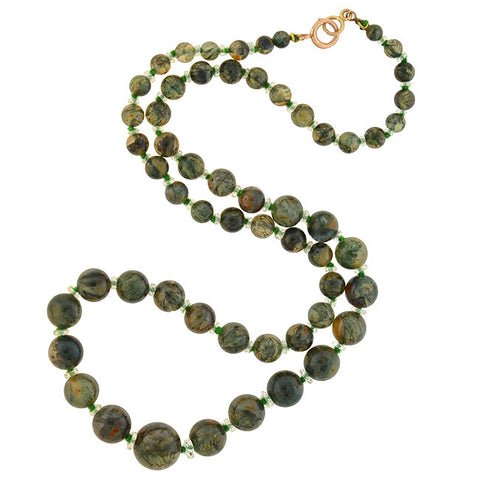 Art Deco Moss Agate & Rock Crystal Beaded Necklace