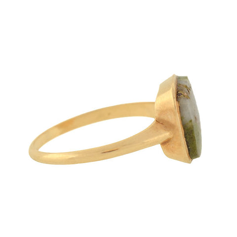 Victorian 14kt Moss Agate Ring