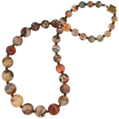 Late Art Deco Gilded Sterling Moss + Banded Agate Bead Necklace 16.25""
