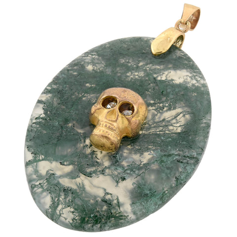 Victorian Gold-Filled Skull + Moss Agate Pendant with Moving French Paste Eyes