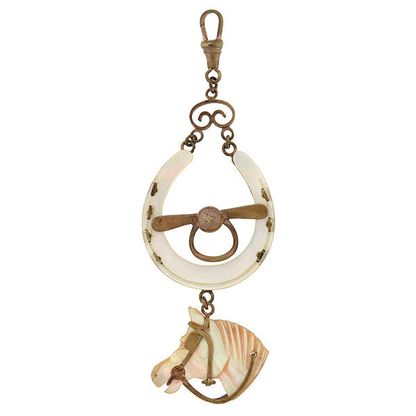Victorian Mother of Pearl Horse & Horseshoe Fob/Pendant