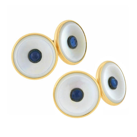 Art Deco 14kt Mother of Pearl Sapphire Cufflinks