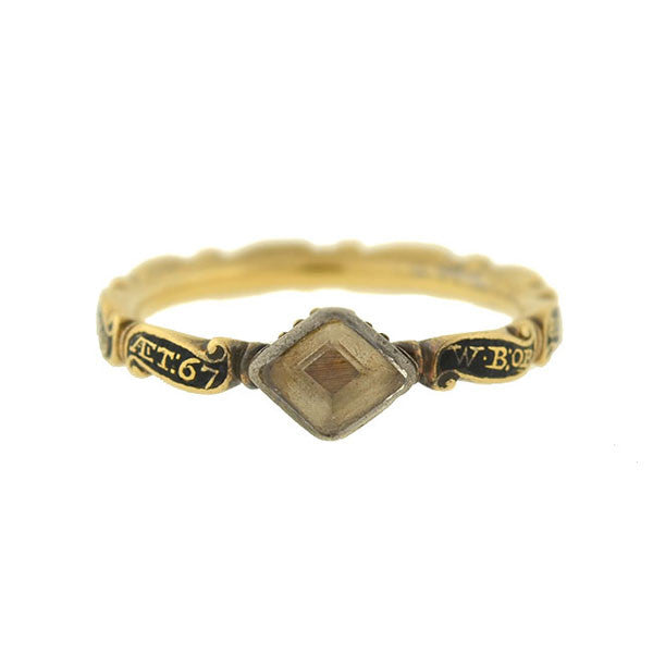 Georgian 18kt Crystal & Enameled Date Woven Hair Mourning Ring