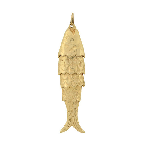 Vintage 14kt Moveable Articulated Fish Pendant