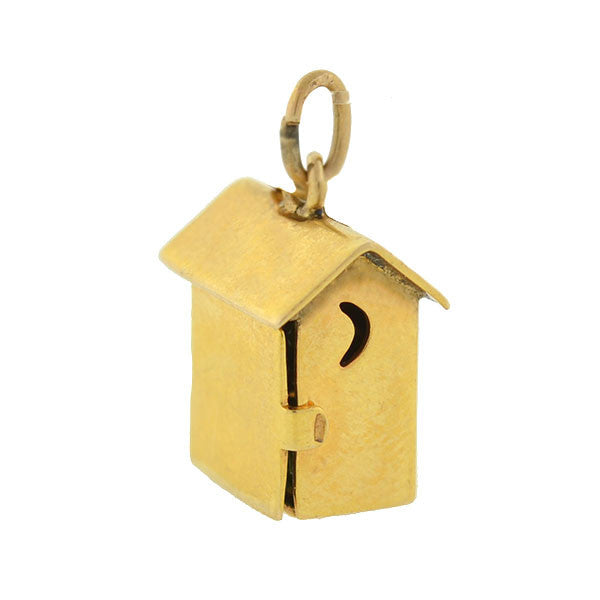 "Retro 14kt ""SAM AND LEW"" Moveable Outhouse Charm"