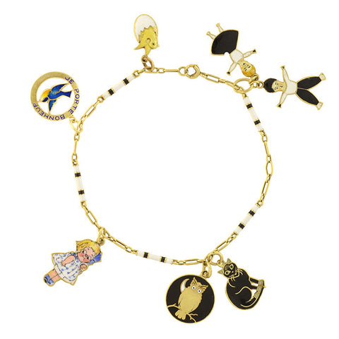 Art Deco 14kt Enameled Double-Sided Black + White Charm Bracelet