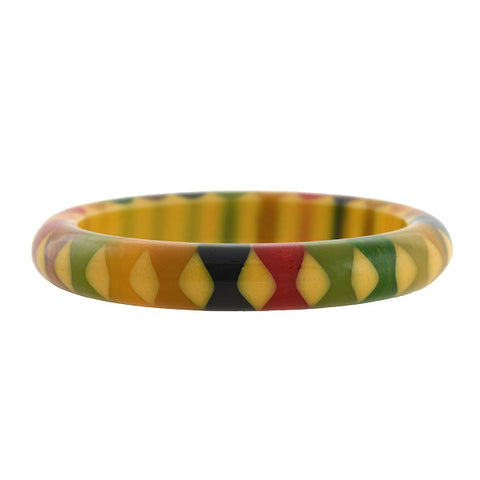 "Retro Bakelite Multi-Color ""Bowtie Motif"" Bangle Bracelet"