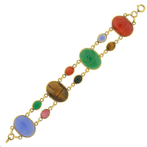 Retro 12kt Gold-Filled Multi Stone Scarab Bracelet