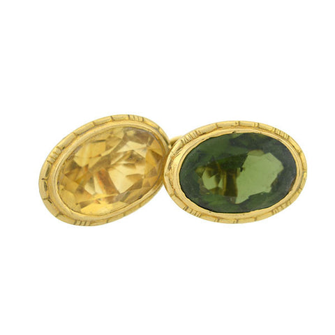 Late Victorian 14kt Gold & Multi-Gemstone Cufflinks