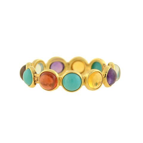 Estate 14kt Multi Gemstone Eternity Band