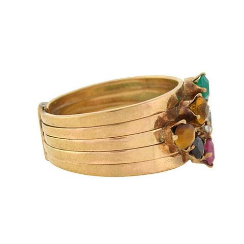 Vintage 14kt Multi Gemstone Stacked Band Harem Ring