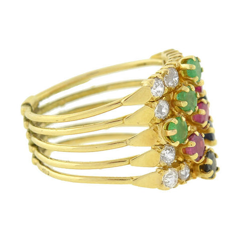Vintage 14kt Multi Gemstone Harem Ring