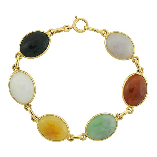 Estate 14kt Multi Colored Jade Link Bracelet