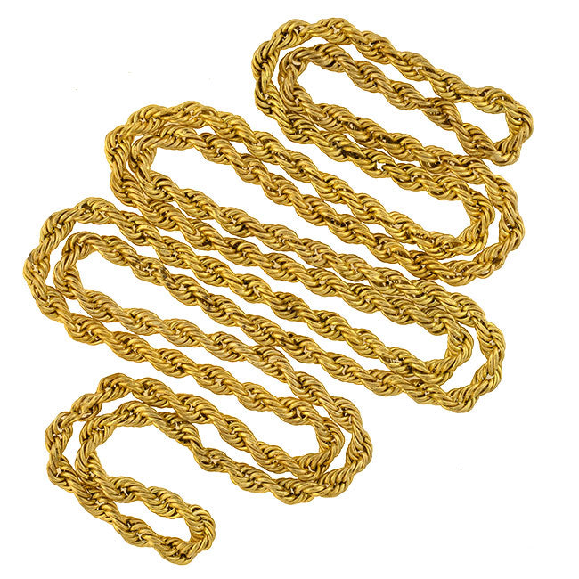 Victorian Gold-Filled Twisted Rope Chain Necklace 60""