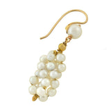 Estate 14kt Pearl Cluster Earrings