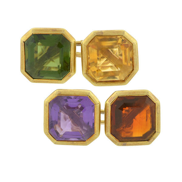 Retro 14kt Gold Multi-Colored Gemstone Cufflinks