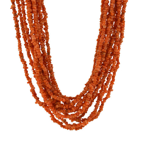 Vintage Multi Strand Coral Bead Necklace