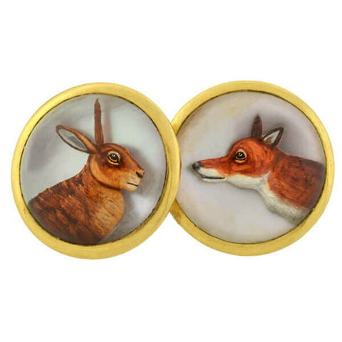 Late Victorian Reverse Carved Rock Crystal Animal Cufflinks