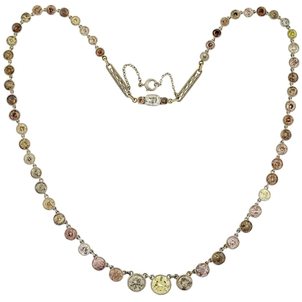 Edwardian Natural Multi-Color Diamond Necklace 19.50ct