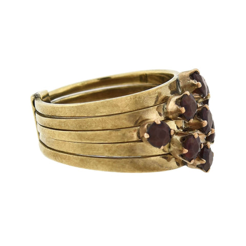 Vintage 14kt Garnet Stacked Band Harem Ring