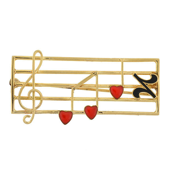 Retro 14kt Gold & Enamel Musical Staff Pin