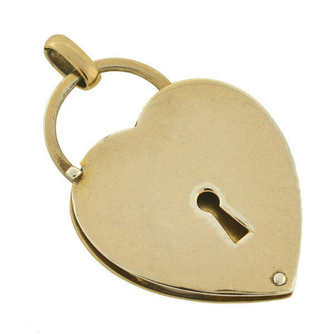 NAPIER Vintage Large Sterling Gilt Padlock Heart Slide Locket