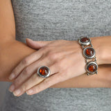 NEILS ERIK FROM Vintage Sterling Silver Amber Bracelet + Ring Set