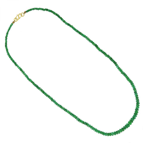 Estate 18kt Faceted Emerald Bead Single Strand Necklace 17""