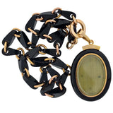 Victorian 15kt Gold Onyx Chain & Ornate Locket