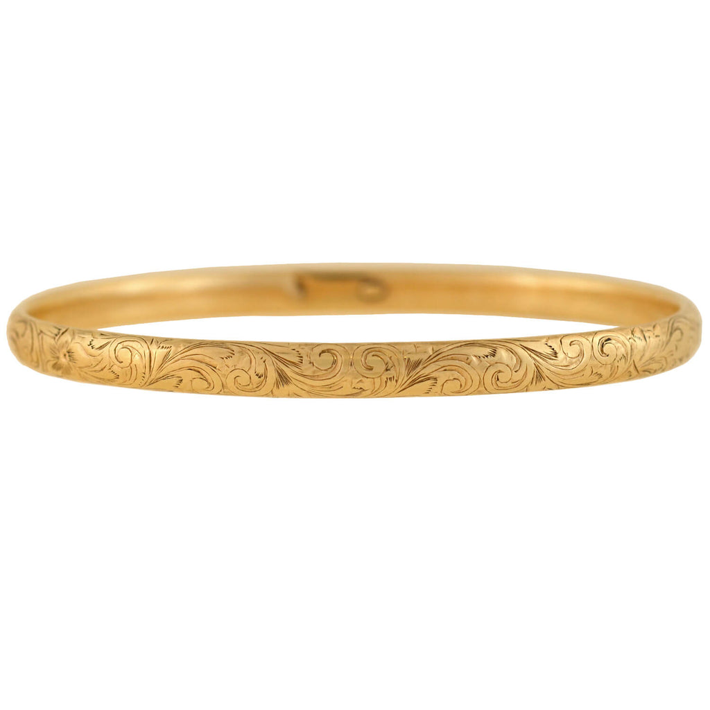 Victorian 14kt Etched Floral Motif Bangle Bracelet