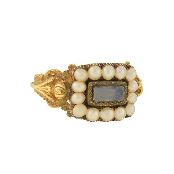 Victorian 18kt Pearl Mourning Ring